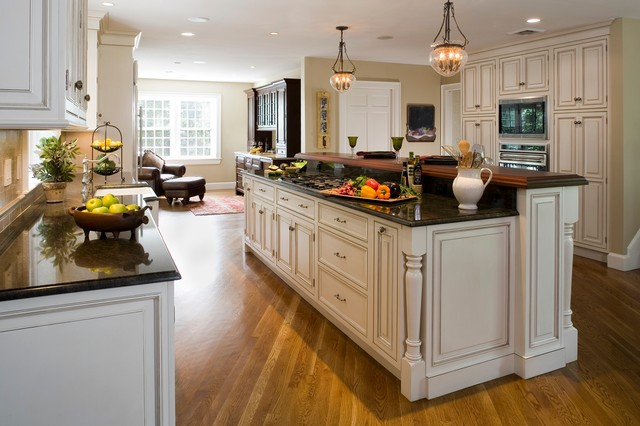 Open floor plan transforms colonial traditional for Open kitchen designs photo gallery