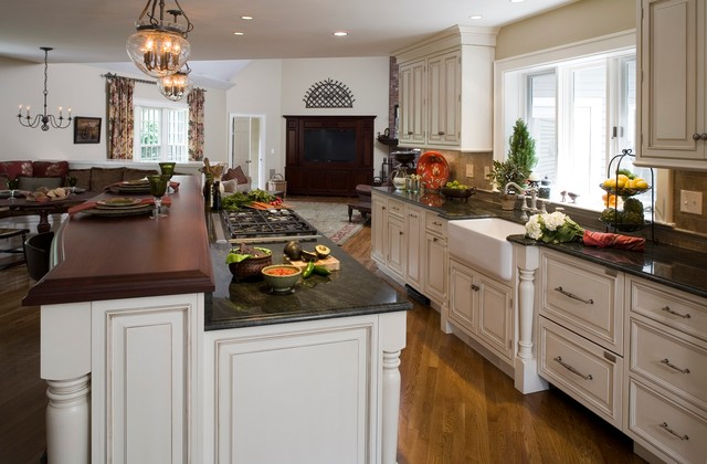 Kitchen Remodeling Boston Plans Interesting Open Floor Plan Transforms Colonial  Traditional  Kitchen . Decorating Design