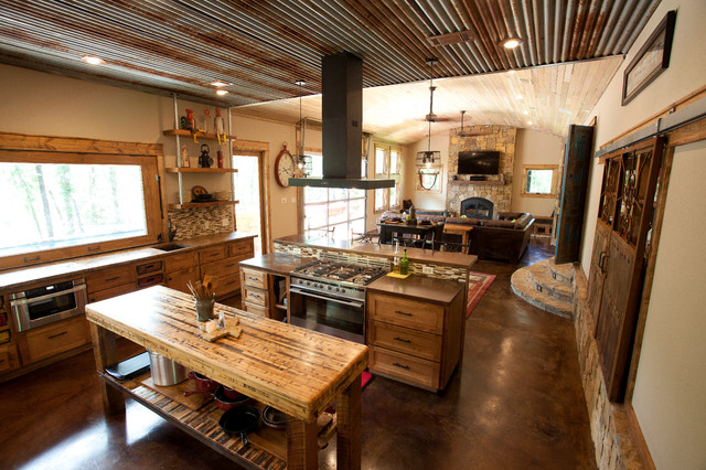 Open Greatroom Rustic Kitchen Dallas by WrightBuilt