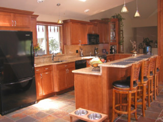 Traditional Open Kitchen Designs open kitchen design: views to matching fireplace - traditional