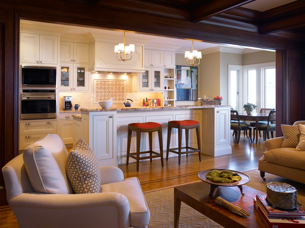 Inspiration for a timeless kitchen remodel in San Francisco with recessed-panel cabinets