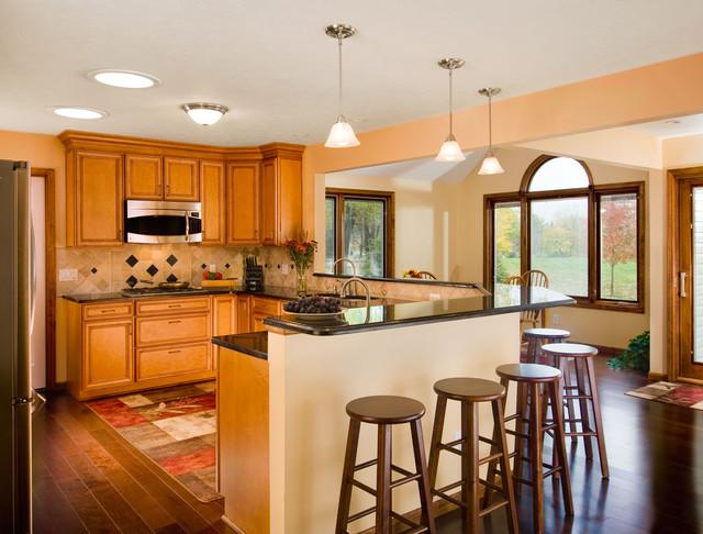 Open Kitchen With Breakfast Bar Kitchen Cleveland By
