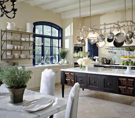 Open Kitchen with Steel Windows traditional-kitchen