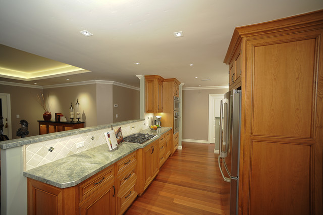 Open plan galley kitchen traditional kitchen san for Traditional galley kitchens