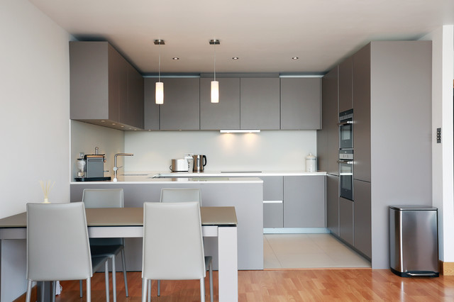 open plan grey kitchen design - modern - kitchen - london -lwk