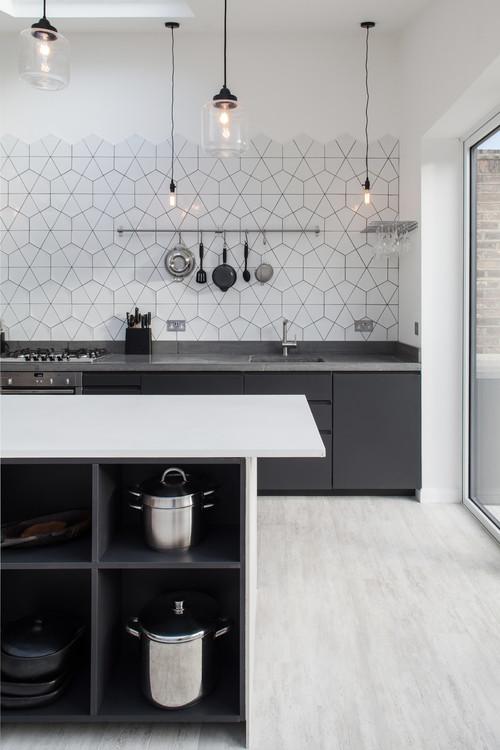 nowoczesna kuchnia, heksagonalne płytki