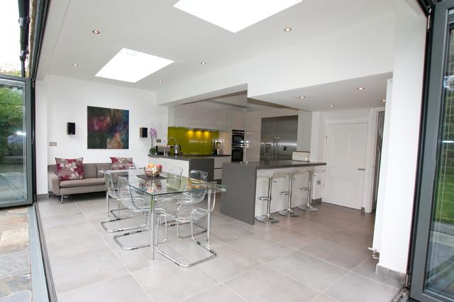 High gloss lacquer white kitchen modern kitchen london by lwk - Open Plan Kitchen Dining Space Modern Kitchen
