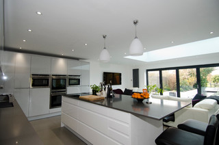 open plan kitchen island open plan kitchen in a remo dove grey white contemporary 3747