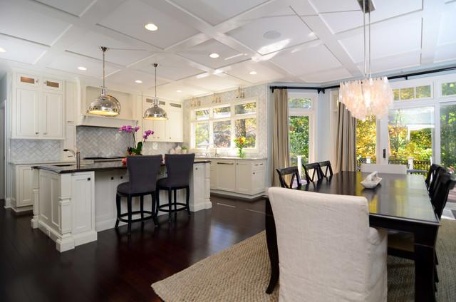 Open Plan Soft White Cabinets Contrasting Dark Floors