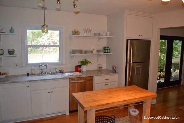 Open shelf kitchen traditional kitchen raleigh by for Traditional kitchen shelves