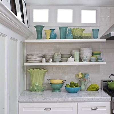 Nice Open Shelving And Carrera Marble Countertops Kitchen