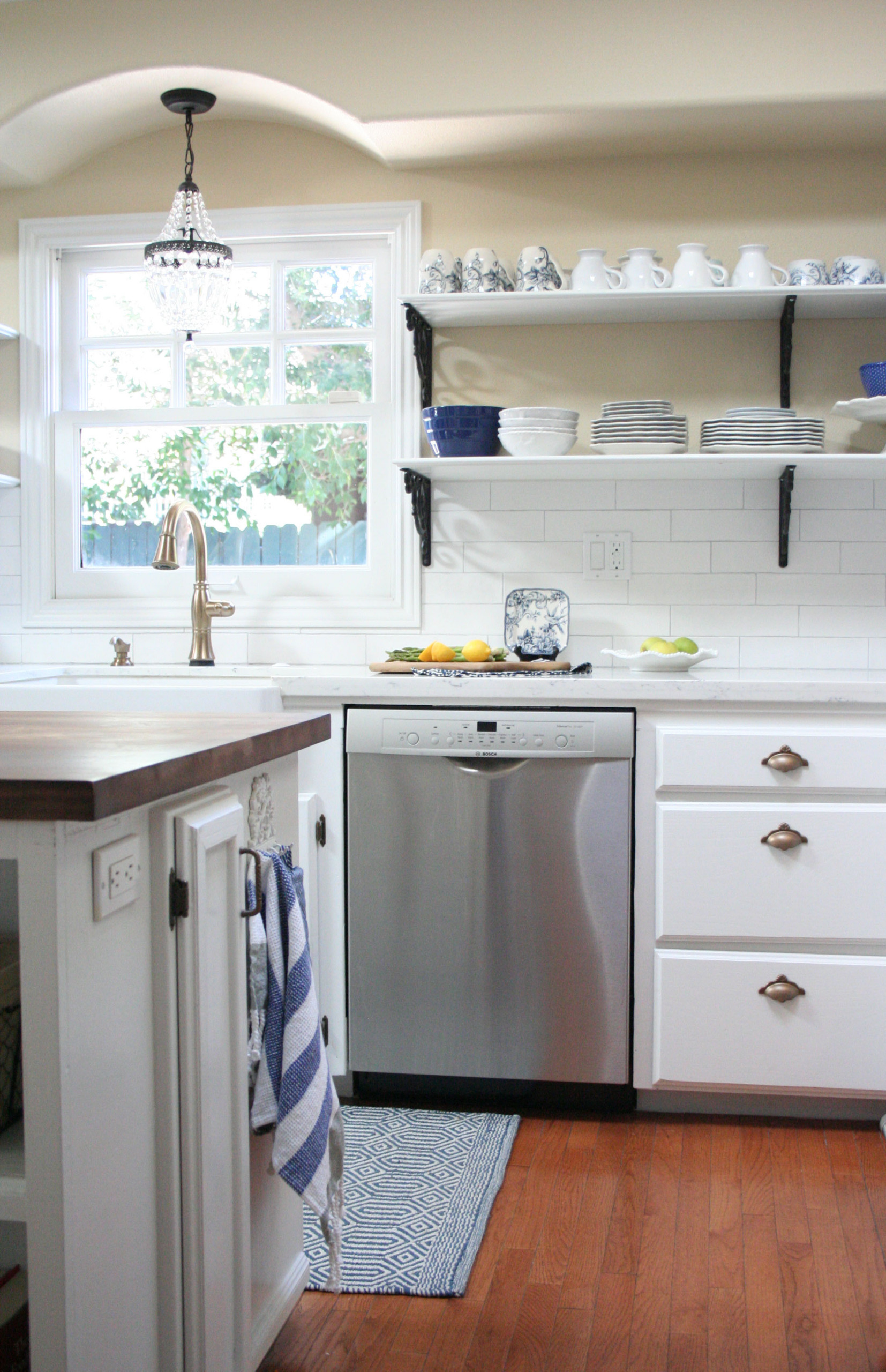 Open Shelving French Country Kitchen