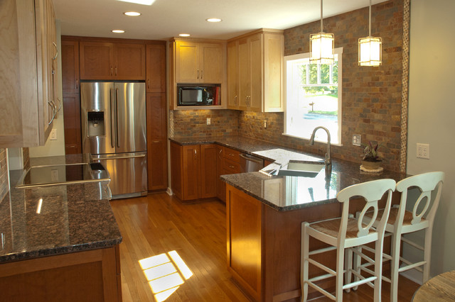 Open Up kitchen and dining room - after - Traditional ...