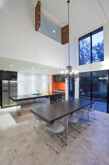 Orange Black And White Kitchen