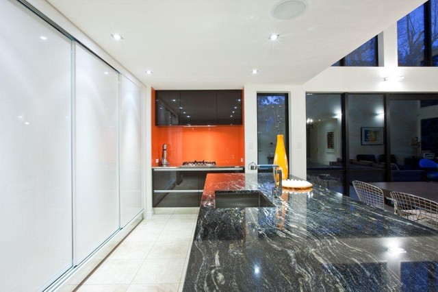 Orange Black And White Kitchen