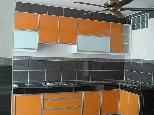 Orange color kitchen cabinet modern kitchen san luis for Contemporary kitchen cabinet colors