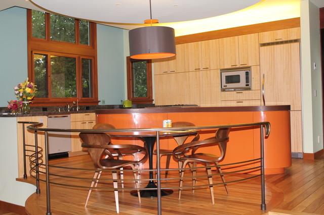 Orange Curve Island  Modern  Kitchen  san francisco  by Roth Wood
