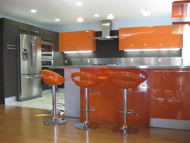 orange gloss kitchen designs modern kitchen - Kitchen Designers San Diego