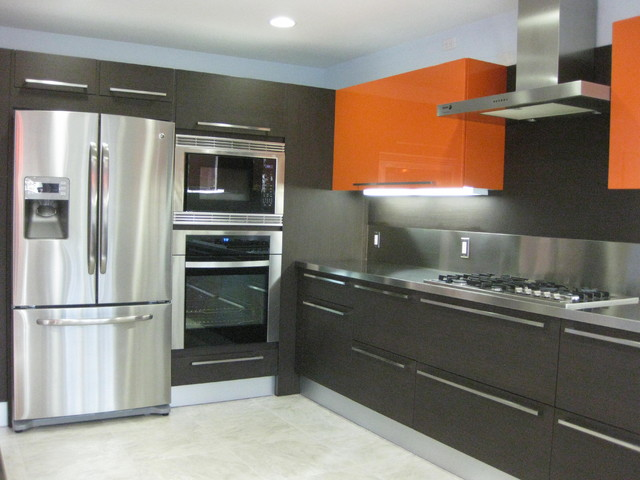 ORANGE GLOSS KITCHEN DESIGNS Contemporary Kitchen