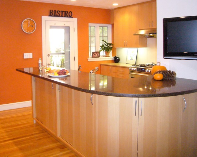 orange wall modern kitchen boston by cw design llc