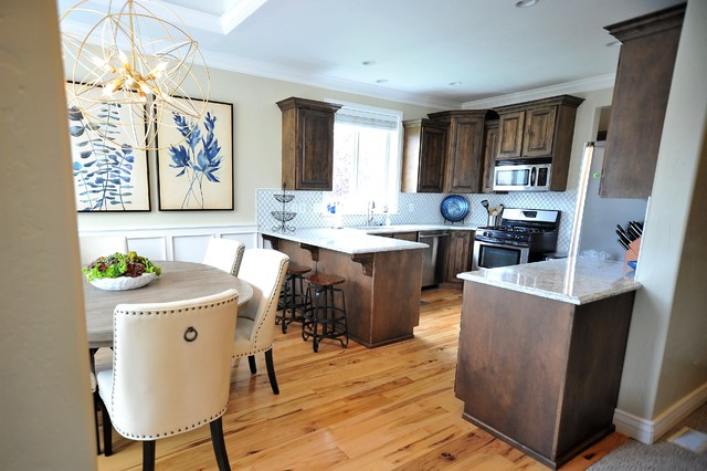 Example of a transitional kitchen design in Salt Lake City