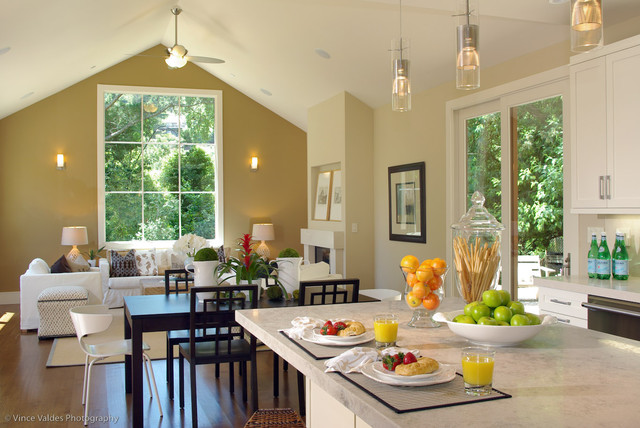 kitchen dining family room design. Beach style open concept kitchen idea in San Francisco Open Kitchen Dining And Family Room  Houzz