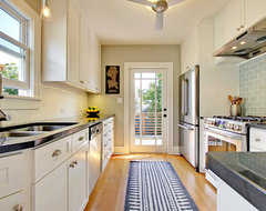 original Tudor kitchen, remodeled modern kitchen