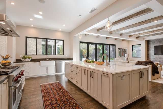 Inspiration For A Transitional Dark Wood Floor Open Concept Kitchen Remodel  In San Francisco With A