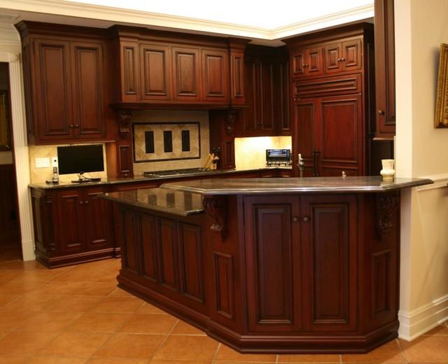 ornate mahogony cabinetry traditional kitchen miami