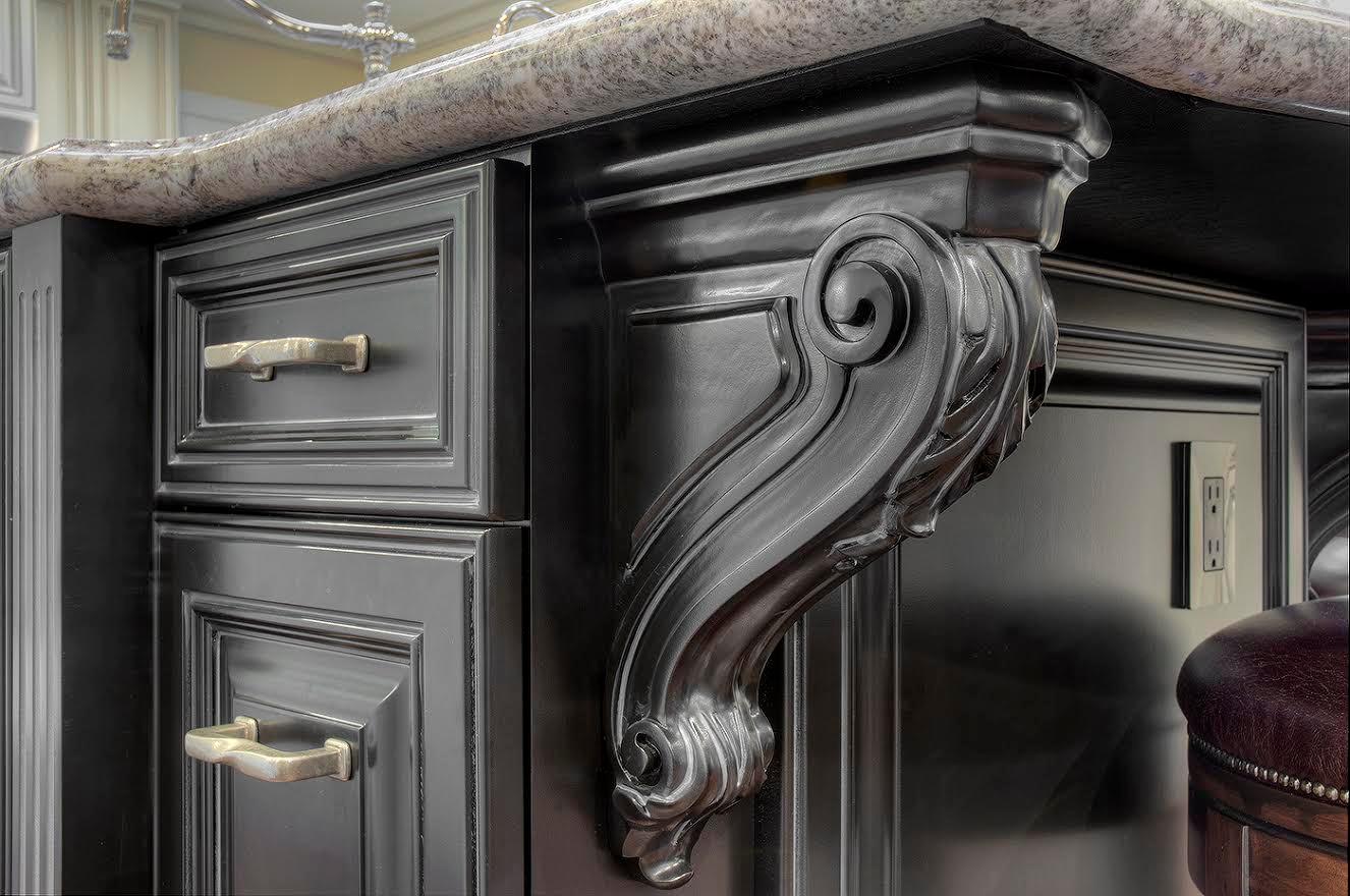 Ornate White Glazed Kitchen & Family Room