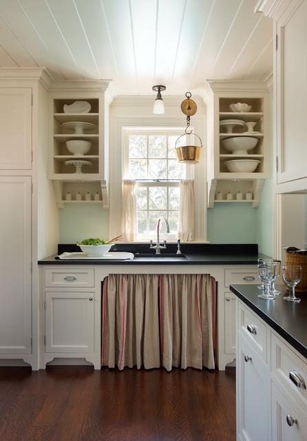 厨房白色橱柜简欧风格装饰效果图_土拨鼠装修效果图