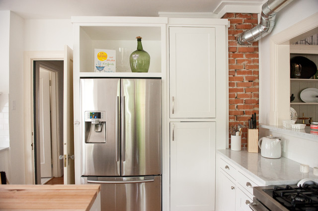 Kitchen Design Refrigerator our bright, white, open kitchen - modern - kitchen - dallas -