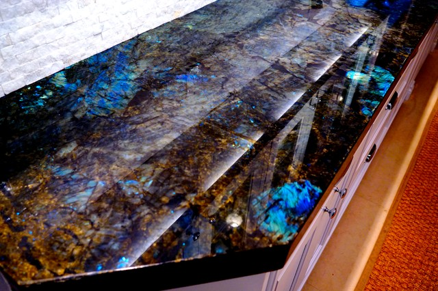 Our New Lemurian Blue Countertops Transitional Kitchen
