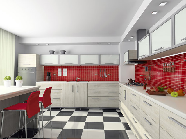Our Snappy Red Kitchen, Classic and Load - contemporary - kitchen