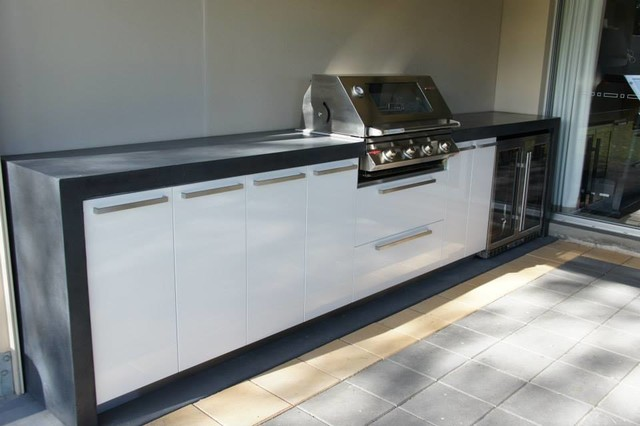 Outdoor Kitchen | Polished Concrete Benchtop With Waterfall Ends Industrial  Kitchen