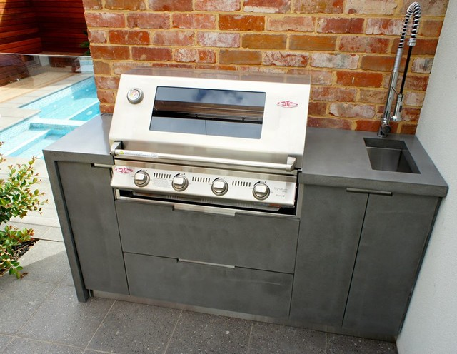 outdoor kitchen polished concrete benchtops doors and