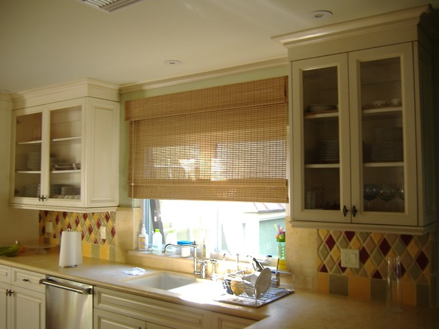 Outside mount bamboo shade traditional kitchen los for Kitchen shades and blinds