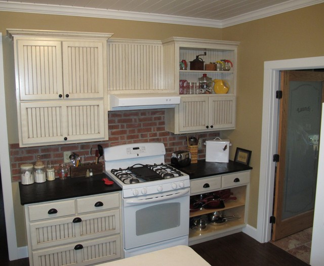 Oven Wall Cabinets Distressed & Crown Molding farmhouse ...