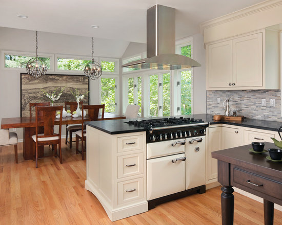 Photos with White Appliances, Beige Cabinets and Beaded Inset Cabinets