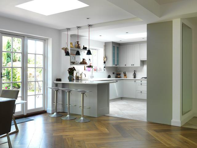 Oversized Smoked Oak Parquet Modern Kitchen