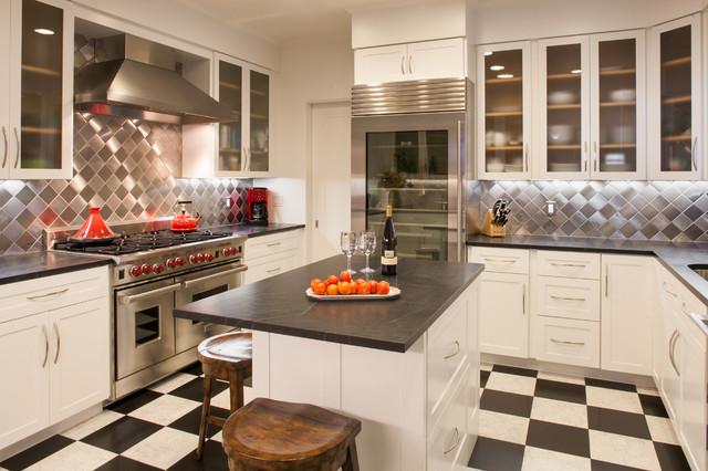 Kitchen   Contemporary U Shaped Multicolored Floor Kitchen Idea In San  Francisco With Soapstone Countertops