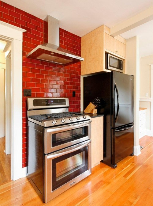 Why Is The Microwave Above The Refrigerator? Then A Cabinet Over That Even  Further Up