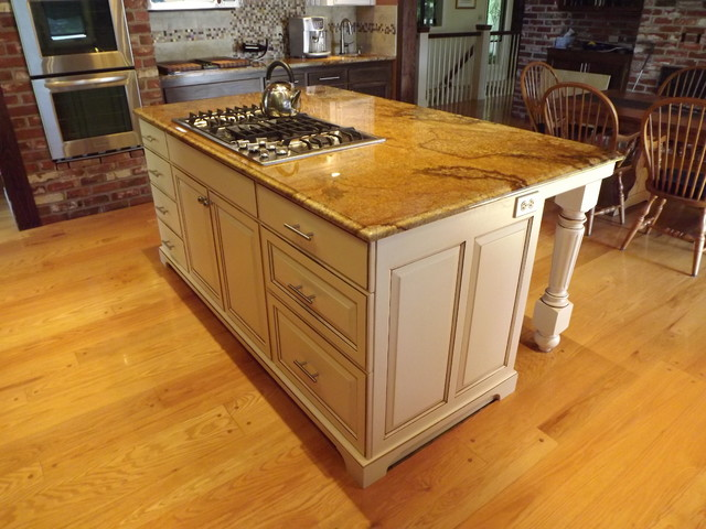 Paint glazed kitchen island traditional kitchen for Making a kitchen island from cabinets