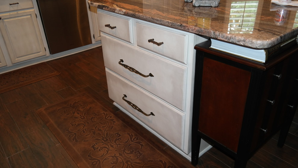 Painted and Glazed Oak Kitchen Cabinets - Traditional ...