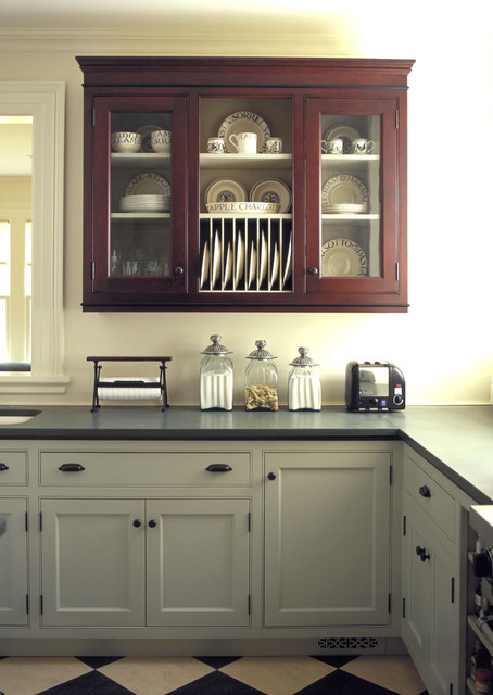 Elegant kitchen photo in Burlington with beaded inset cabinets, an undermount sink and gray cabinets