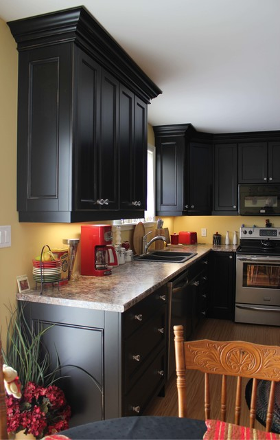 Painted black cottage traditional kitchen