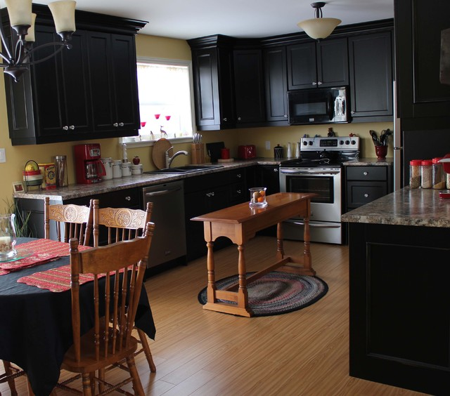 Painted black cottage traditional-kitchen
