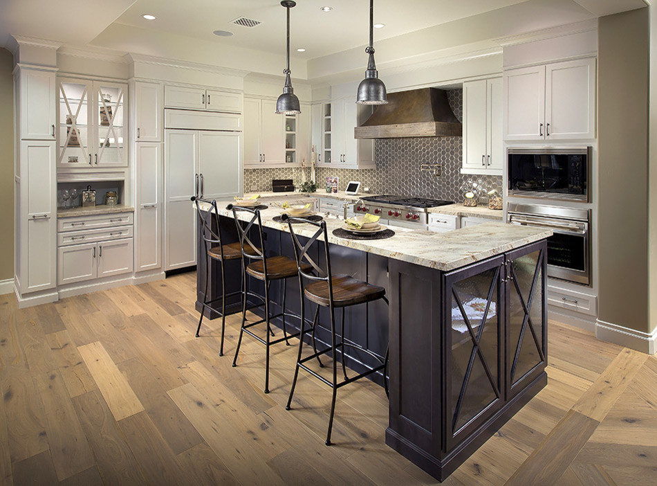 Painted Cabinets & Dark Stained Island - Traditional ...