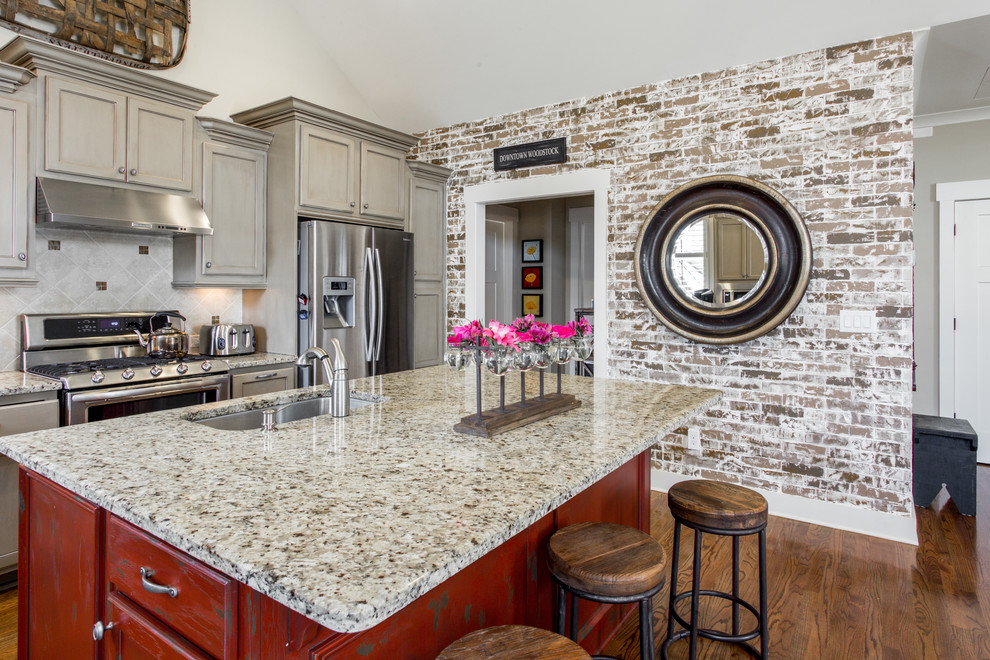 Painted Cabinets And New Brick Accent Wall Transitional Kitchen Atlanta By Terrybrick Llc