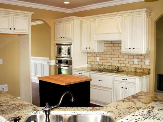Painted, Distressed Kitchen Cabinets - Traditional ...